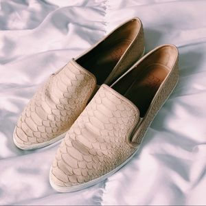 FIFTH CITY TAN CROCODILE SLIP ONS